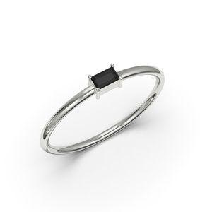 10K WHITE GOLD BAGUETTE CUT BLACK CZ RING